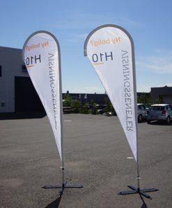 Beachflagg eksklusiv flagg reklameflagg strandflagg fra Markedsmateriell.no