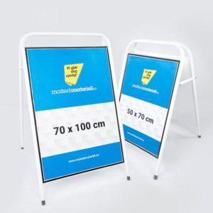 Gatebukk standard 50×70 og 70×100 cm aluminium hvit markedsmateriell