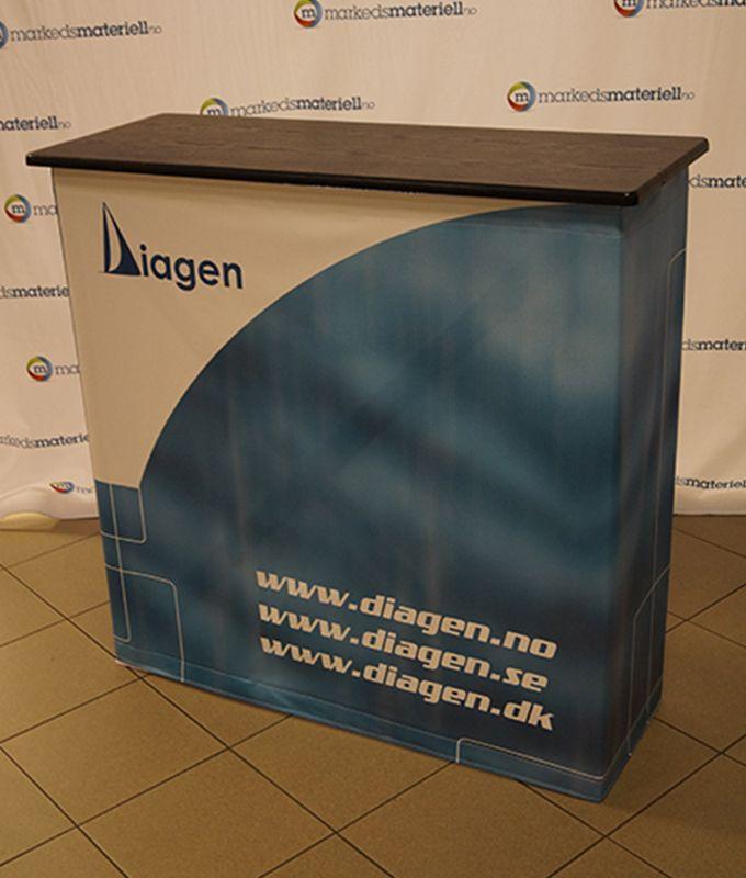 Messebord klassisk firkantet popup messedisk pop-up salgsbord salgsdisk portabelt fra Markedsmateriell.no
