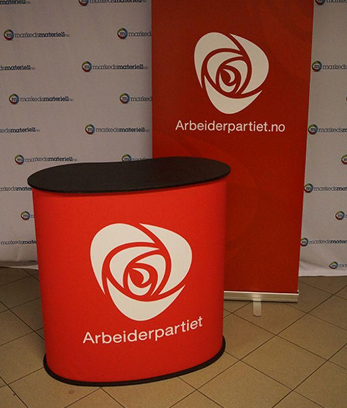 Messebord oval popup messedisk pop-up salgsbord salgsdisk portabelt fra Markedsmateriell.no