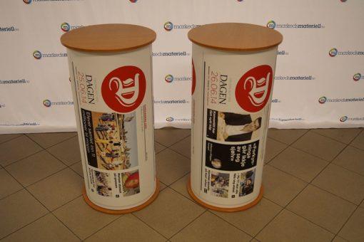 Messebord rund soyle popup messedisk rundt pop-up salgsbord salgsdisk portabelt fra Markedsmateriell.no