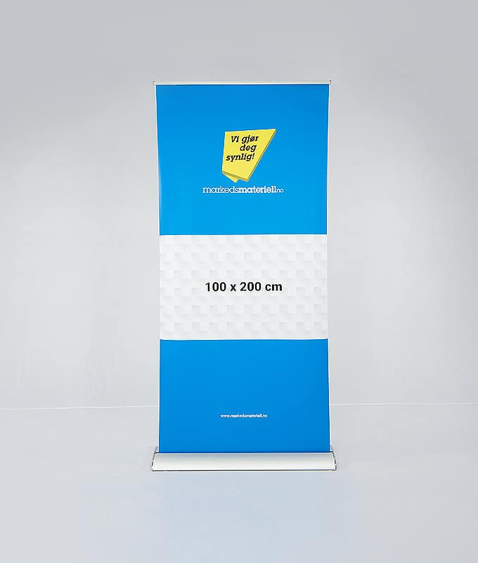 Roll-up eksklusiv 100x200 pop-up messeutstyr fra Markedsmateriell