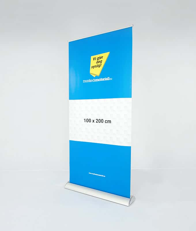 Roll-up eksklusiv 100x200 pop-up messeutstyr fra Markedsmateriell