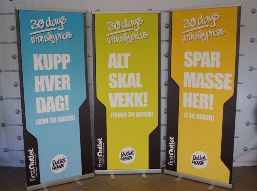 Rollup klassisk roll-up portabel bannerstativ popup banner rullopp salgsbanner bestselger fra Markedsmateriell.no