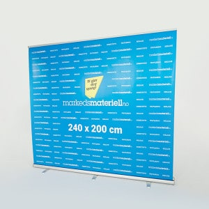 Rollup Messevegg 240×200 messeutstyr pop-up markedsmateriell