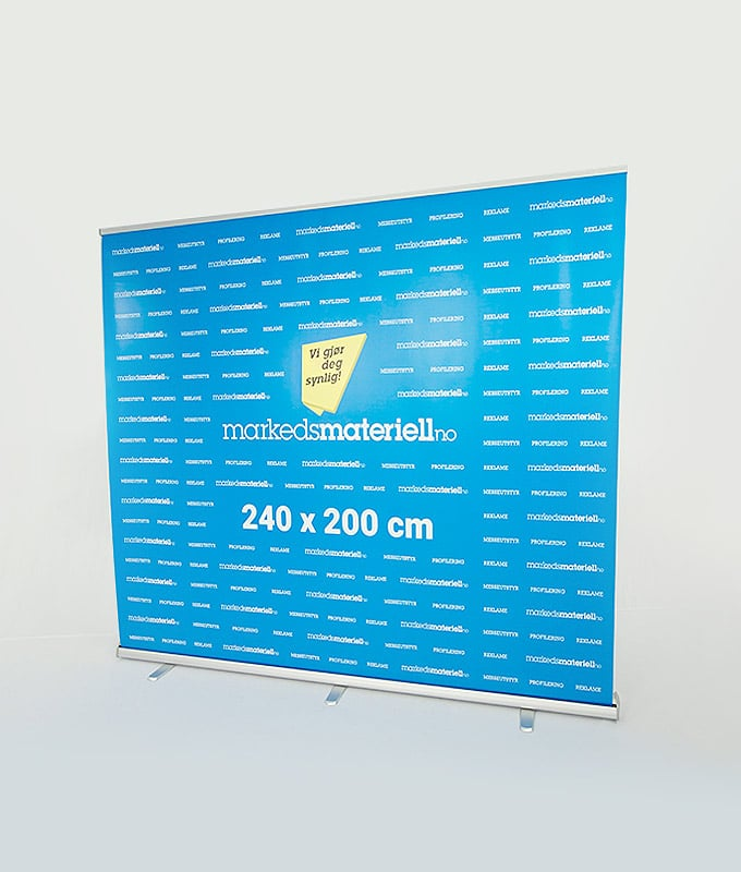 Rollup Messevegg 240x200 messeutstyr pop-up markedsmateriell