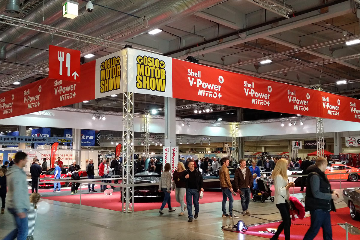 Banner til messekonstruksjon messebanner reklamebanner fra markedsmateriell oslo motorshow