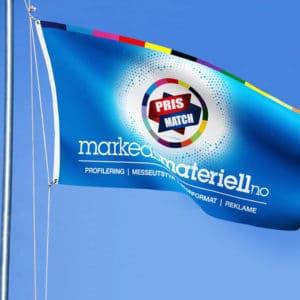 Logoflagg, reklameflagg og flagg med trykk fra Markedsmateriell.no