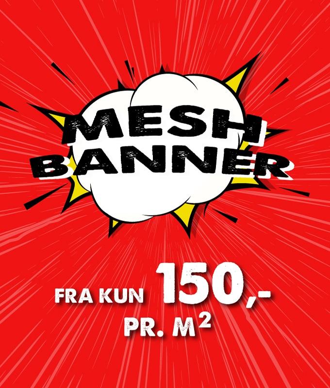 Mesh banner inkludert trykk kun 150 kr per kvadratmeter