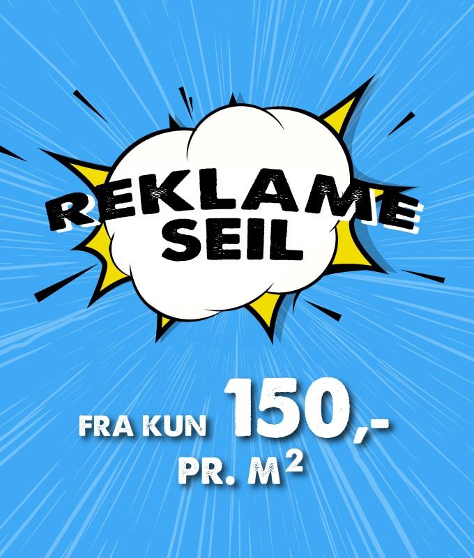 Reklameseil inkludert trykk kun 150 kr per kvadratmeter