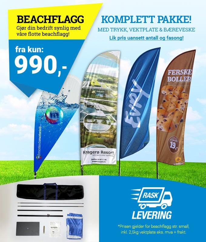 Komplett beachflagg kampanje kun 990 kr – markedsmateriell.no