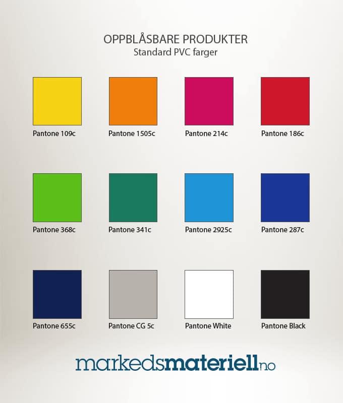 Standard farger PVC til oppblåsbare produkter fra Markedsmateriell