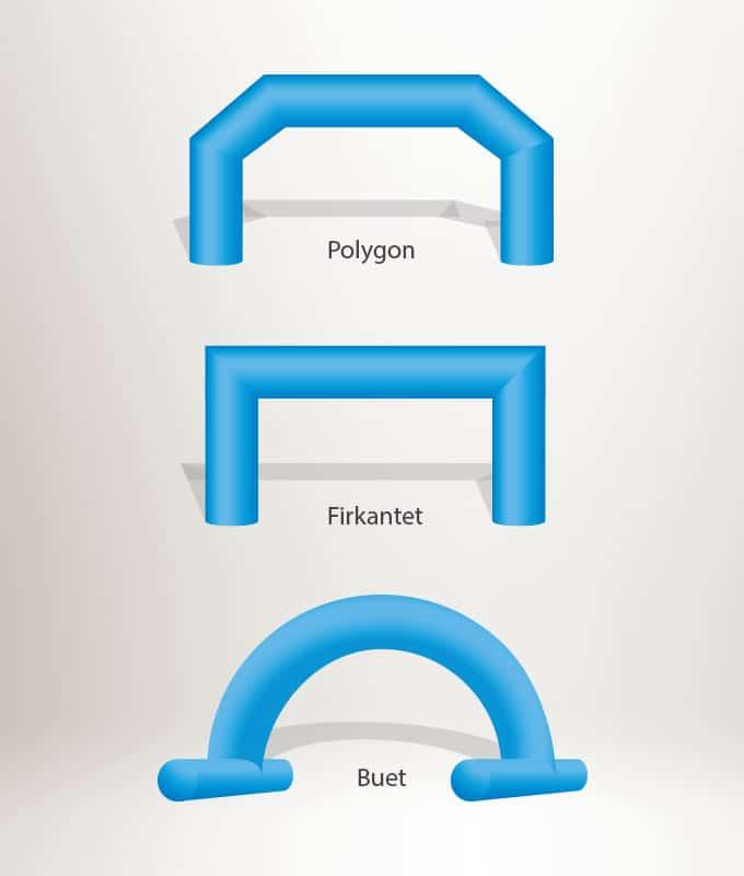 Ulike former for oppblåsbar portal målbue fra markedsmateriell