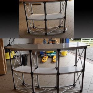 Messebord med magneter og tre/sølv bordplate topp fra Markedsmateriell