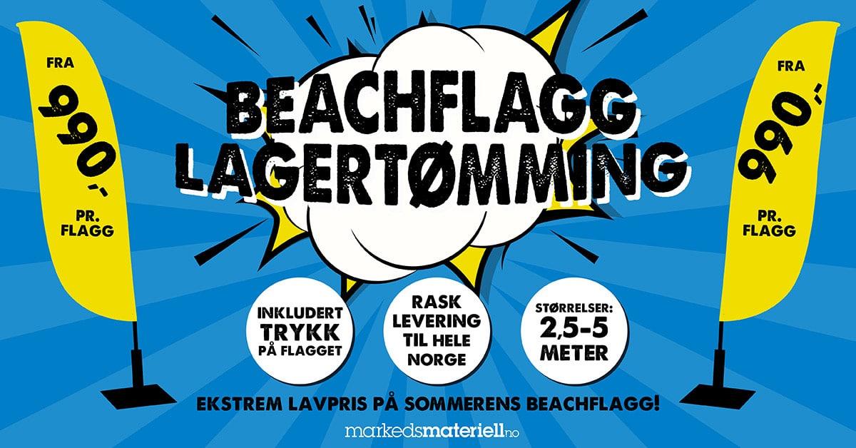 Beachflagg fra kun 990 per stk inkludert trykk hos Markedsmateriell.no