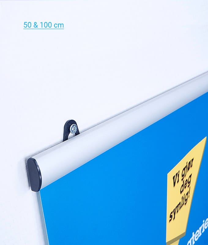 Plakatlist 50 og 100 cm bredde oppheng til plakat og banner med klemlist fra Markedsmateriell