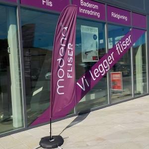 Modena Fliser i Lyngdal har fått beachflagg levert av Markedsmateriell