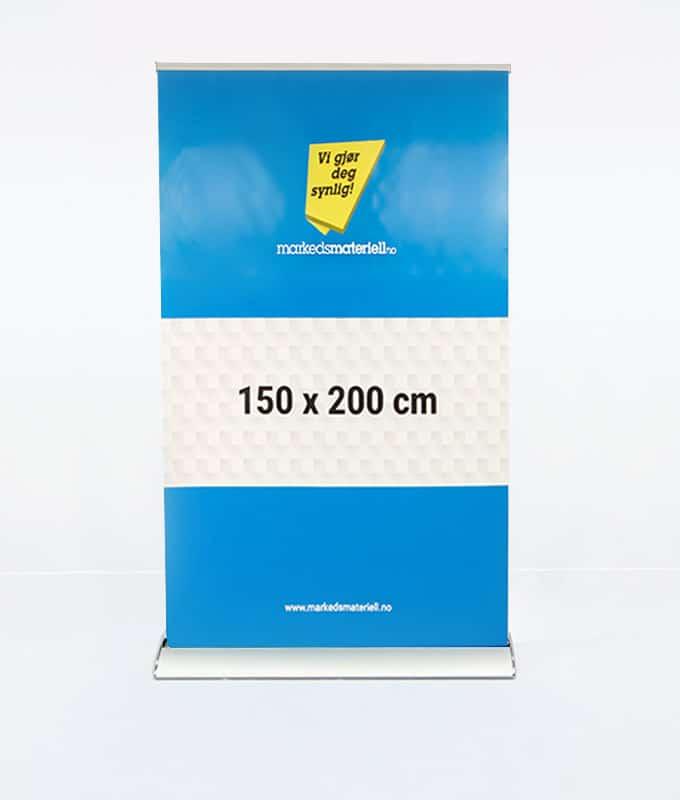 Rollup Eksklusiv 150x200 cm banner stativ messeutstyr fra Markedsmateriell