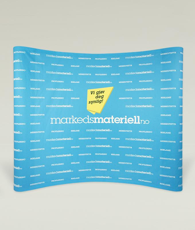 Messevegg buet pop-up tekstil messeutstyr fra Markedsmateriell.no