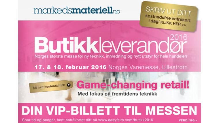 Møt markedsmateriell på Butikkleverandør messen 17-18 februar 2016