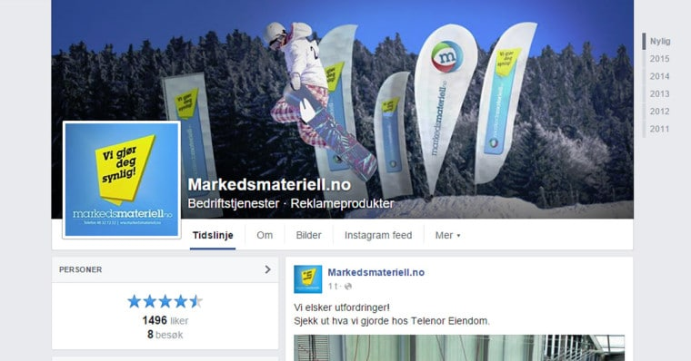 Markedsmateriell Facebook Side