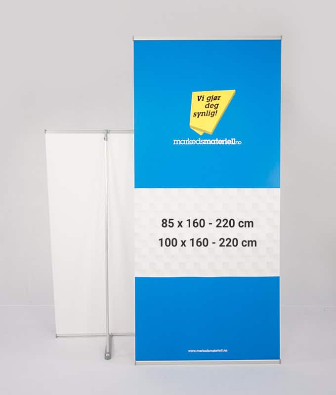 L-Banner Stand roll-up 85×160 85×220 100×160 100×220 fra Markedsmateriell.no