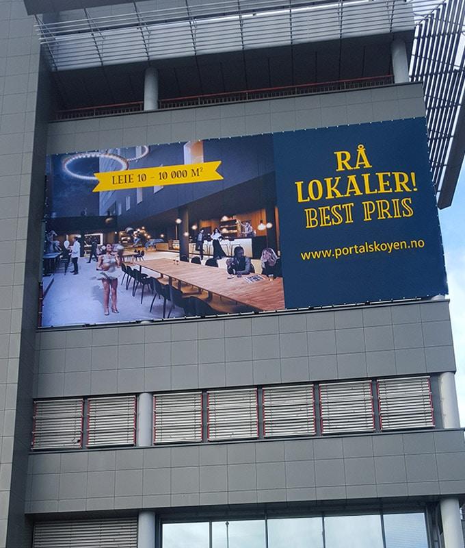 Banner og Storformat trykk mesh tekstil pvc fra Markedsmateriell.no