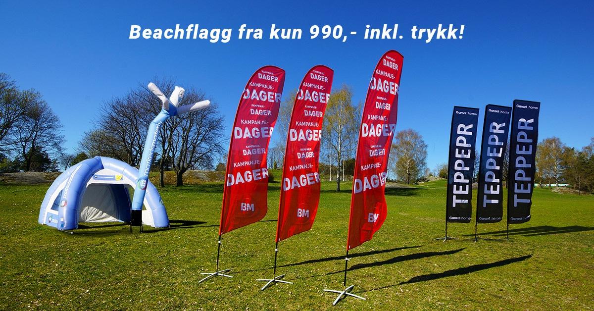 Beachflagg kampanje inkludert trykk kun 990 kroner hos Markedsmateriell.no