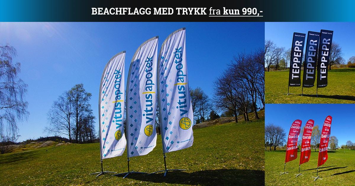 Beachflagg med trykk fra kun 990,- hos Markedsmateriell.no