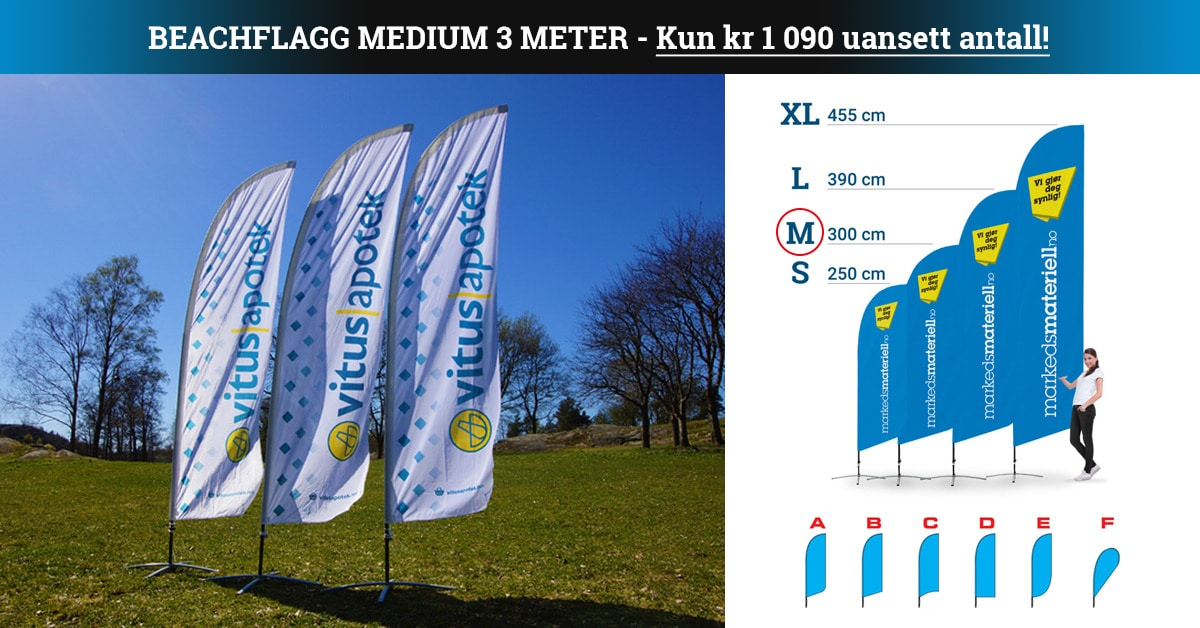 Beachflagg Klassisk medium kampanje Markedsmateriell.no