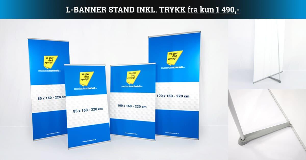 L-Banner stand inkludert trykk fra kun 1490 kr hos Markedsmateriell.no