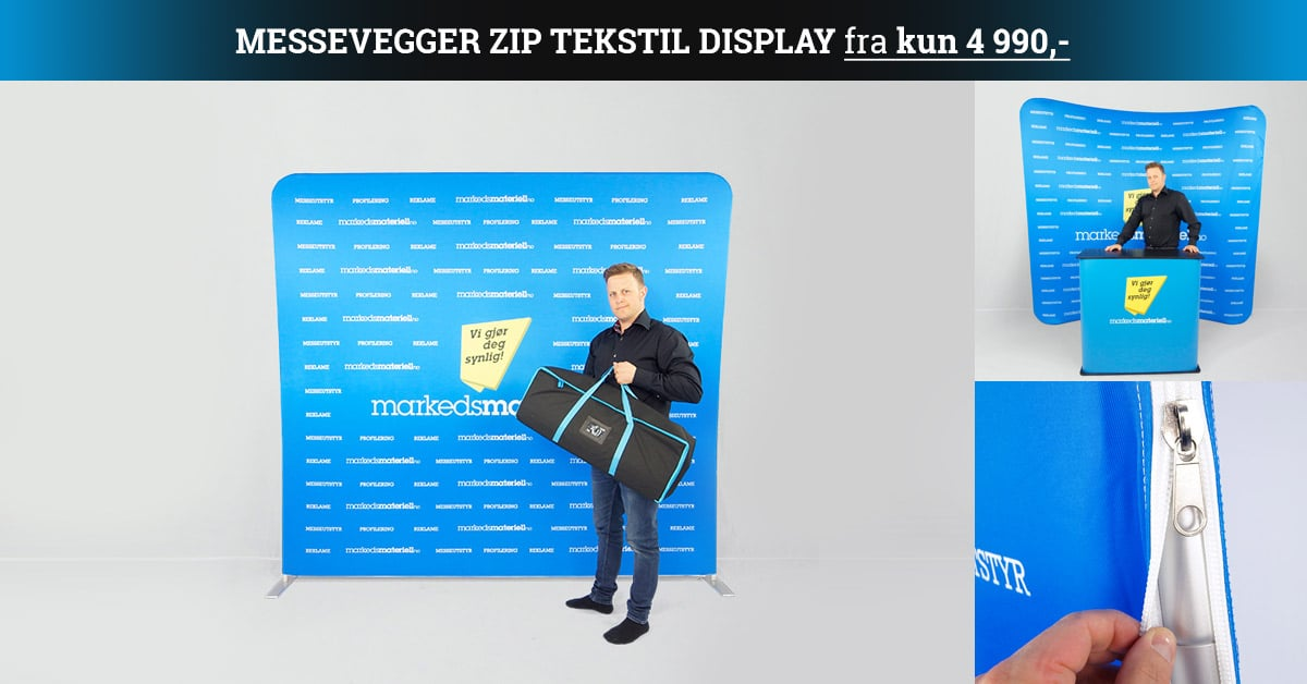 Messevegger zip display tilbud fra kun 4990 kr hos Markedsmateriell.no