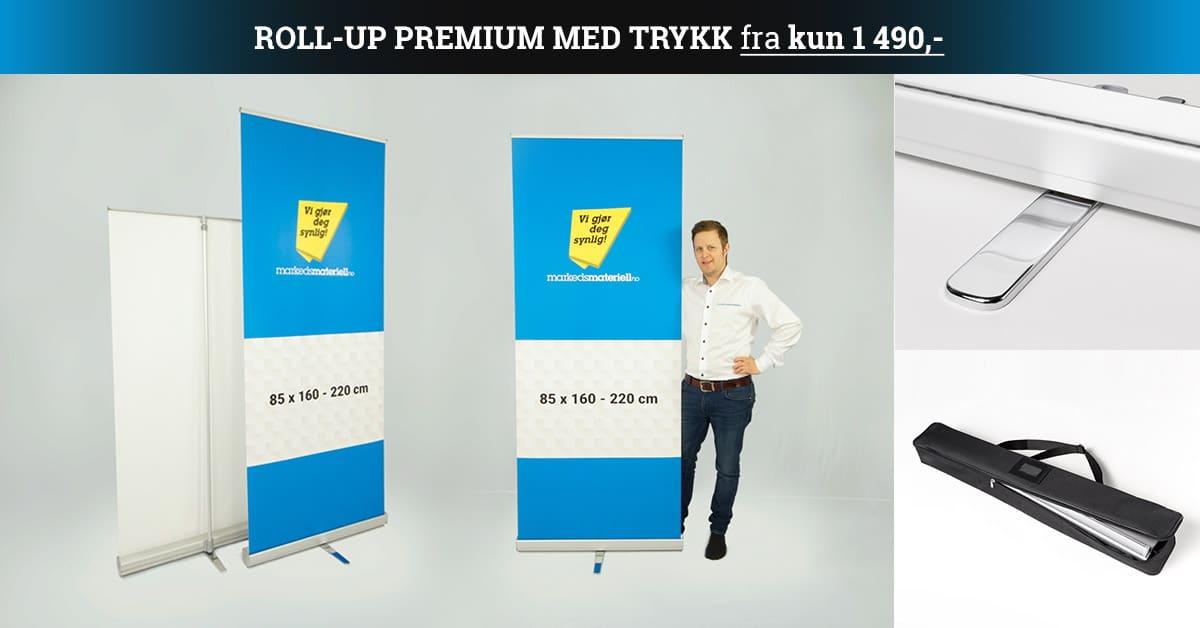 Roll-Up Premium med trykk fra kun 1490 kr hos Markedsmateriell.no