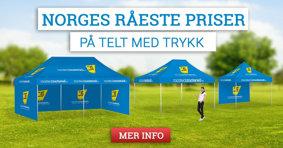 Telt med trykk - Norges råeste priser hos Markedsmateriell.no