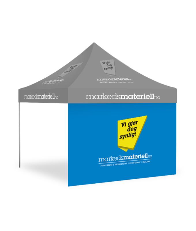 Teltvegg med trykk 3×3 meter fra Markedsmateriell.no