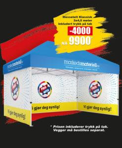 BLACK DAYS! Telt med trykk 3x4,5 meter, reklametelt fra Markedsmateriell.no