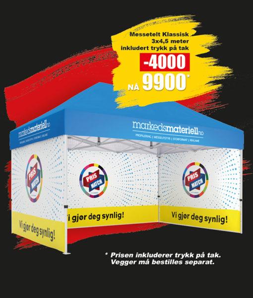 BLACK DAYS! Telt med trykk 3×4,5 meter, reklametelt fra Markedsmateriell.no