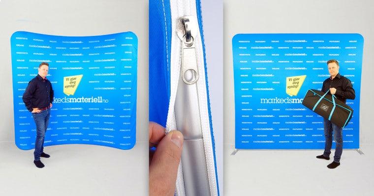Tekstil display messevegger med glidelås fra Markedsmateriell.no