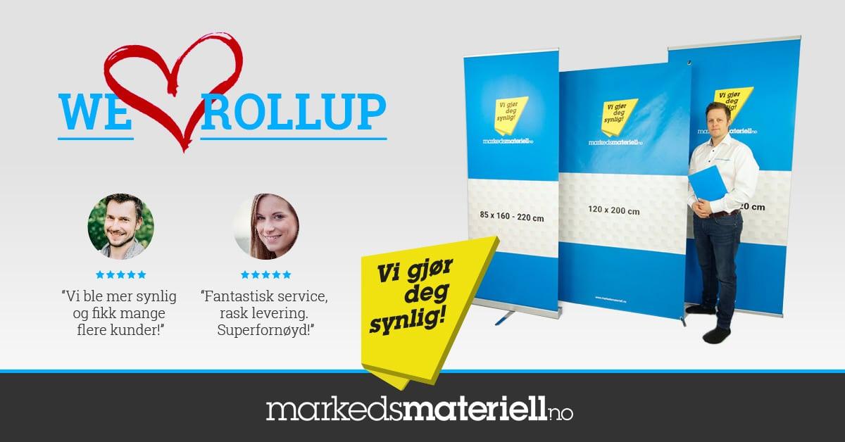 Norges beste priser på rollup, roll-up, roll up og rull opp banner stand fra Markedsmateriell