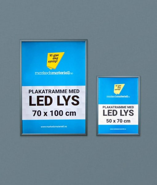 Plakatrammer med LED lys 50×70 og 70×100 cm for innendørs bruk.