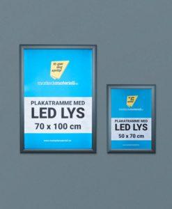 Plakatrammer med LED lys 50x70 og 70x100 cm for utendørs bruk.