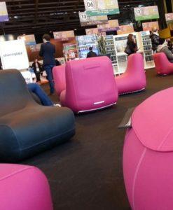 Oppblåsbar stol - med eget trykk