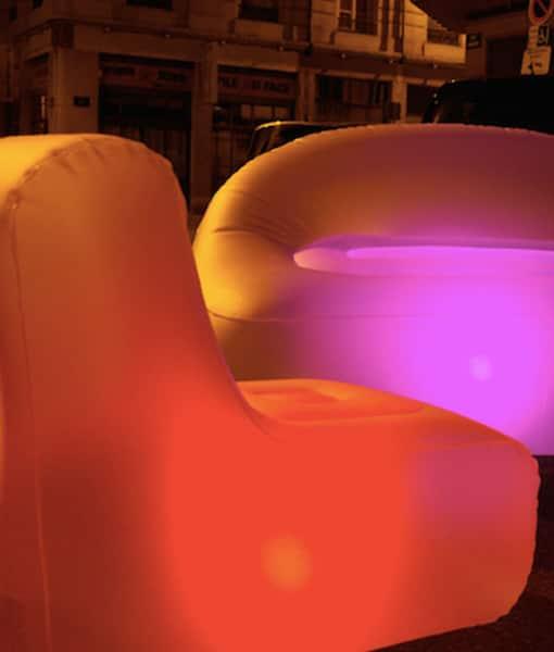 Oppblåsbar stol - med lys!