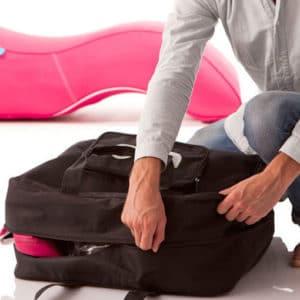 Oppblåsbare møbler leveres med praktisk bag