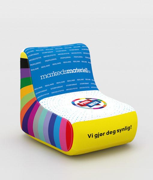 Oppblåsbar stol – med eget trykk