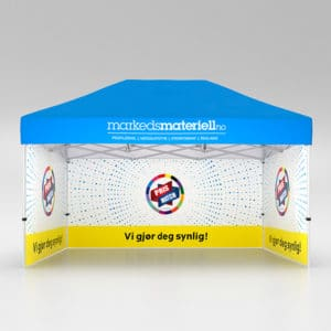 Telt med trykk 3×4,5 meter, reklametelt fra Markedsmateriell.no