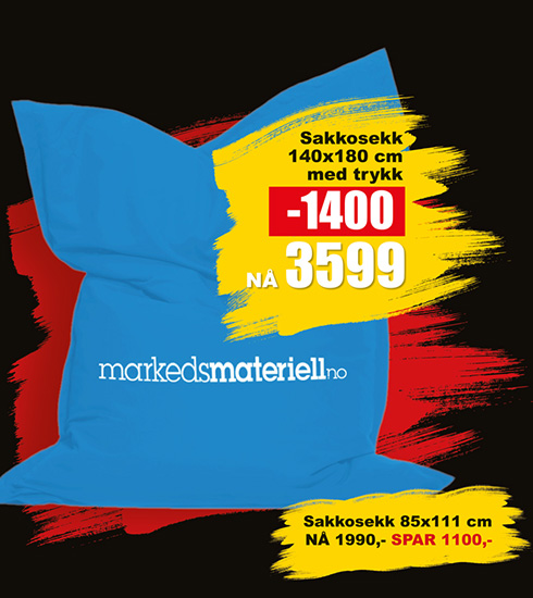 BLACK DAYS! Sakkosekk fra Markedsmateriell.no!