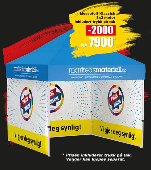 BLACK DAYS! Telt med trykk 3x3 meter, reklametelt fra Markedsmateriell.no